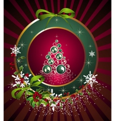 Christmas frame with tree vector image vector image