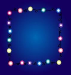 Christmas lights border Holiday greeting card vector image