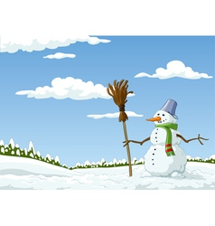 landscape with a snowman vector image vector image