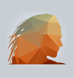Polygonal woman silhoutte on gradient background vector