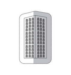 sticker monochrome contour with apartment building vector image