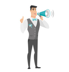 young caucasian groom making announcement vector image vector image