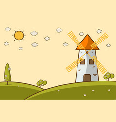 a landscape with a windmill vector image