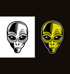 Alien head in two styles black and colorful vector