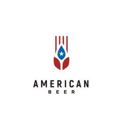 American flag beer brewery wheat malt logo vector