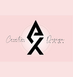 Ax letter design icon logo with letters one on vector