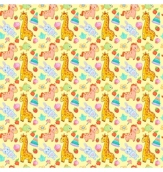 Baby toys seamless pattern animal vector image
