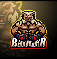 badger esport logo mascot design vector image