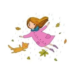 Beautiful little girl and a cute cartoon cat vector