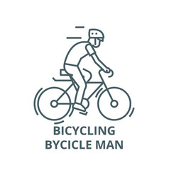bicyclingbycicle man line icon bicycling vector image