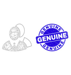 Blue grunge genuine stamp seal and web mesh vector