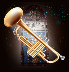 Brass trumpet on stained-glass window background vector image