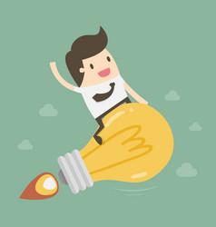 businessman riding idea rocket vector image