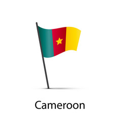 Cameroon flag on pole infographic element on vector
