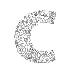 Capital letter c patterned with abstract flowers vector