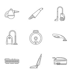 Carpet sweeper icon set outline style vector