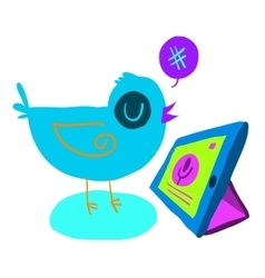 Cartoon bird tweet with tablet flat icon vector image