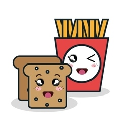 cartoon fries bread with facial expression vector image