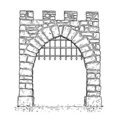 Cartoon of open stone medieval decision gate with vector