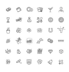 casino related icon set vector image