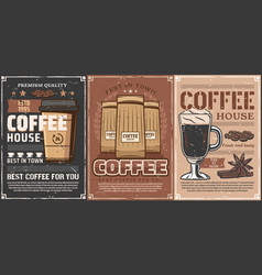 coffee cup mug paper bag rasted beans spices vector image