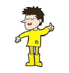 Comic cartoon poor boy with positive attitude vector