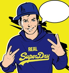 Comic Pop Art man makes signs with his hands vector image