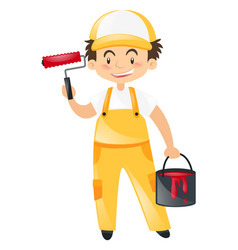 construction worker with red paint vector image