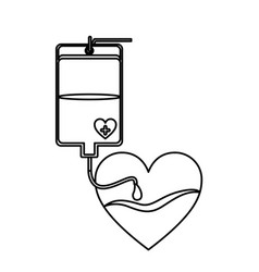 Contour bag donate blood and heart shape vector