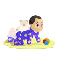 Crawling baby in cartoon style vector
