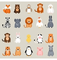 Cute animal set Fox bear elephant bear vector image