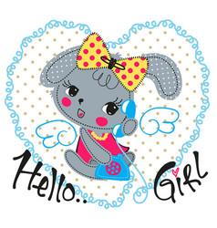 Cute cartoon rabbit girl with vintage phone vector
