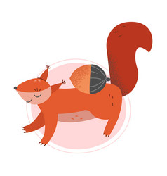 Cute squirrel furry animal jumping with acorn vector