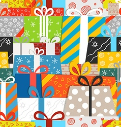 Different gift boxes seamless pattern vector image