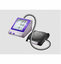 Digital blood pressure monitor on transparent vector