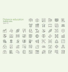 distance learning outline iconset vector image