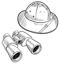 doodle safari hat binoculars vector image