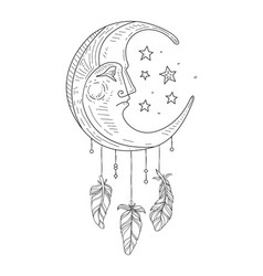 Dream catcher with moon face ethnic indian symbol vector