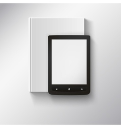 E-book lying on top book with place for your vector