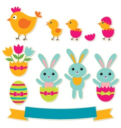 easter stickers set vector image
