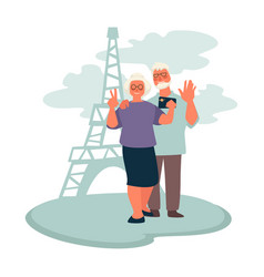 elderly couple traveling to paris grandparents vector image