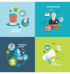 Elections icons flat decorative set vector