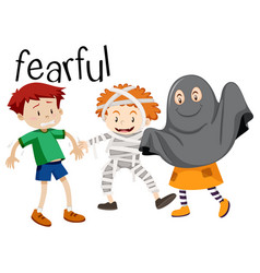 English vocabulary word of fearful vector