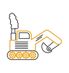 excavator construction vehicle isolated icon vector image