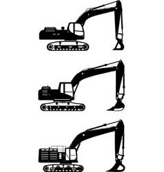 Excavators heavy construction machines vector