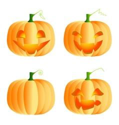 Four funny pumpkins vector image