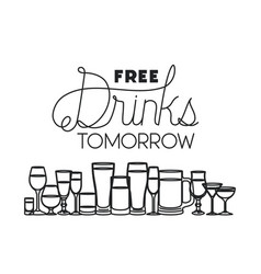 Free drinks set icons vector