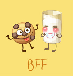 funny food characters cookie and glass milk vector image