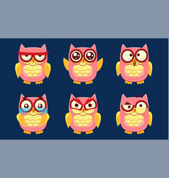 funny owls characters set cute pink birds with vector image