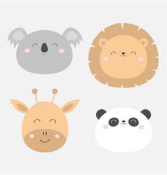 giraffe lion koala panda bearround face head icon vector image